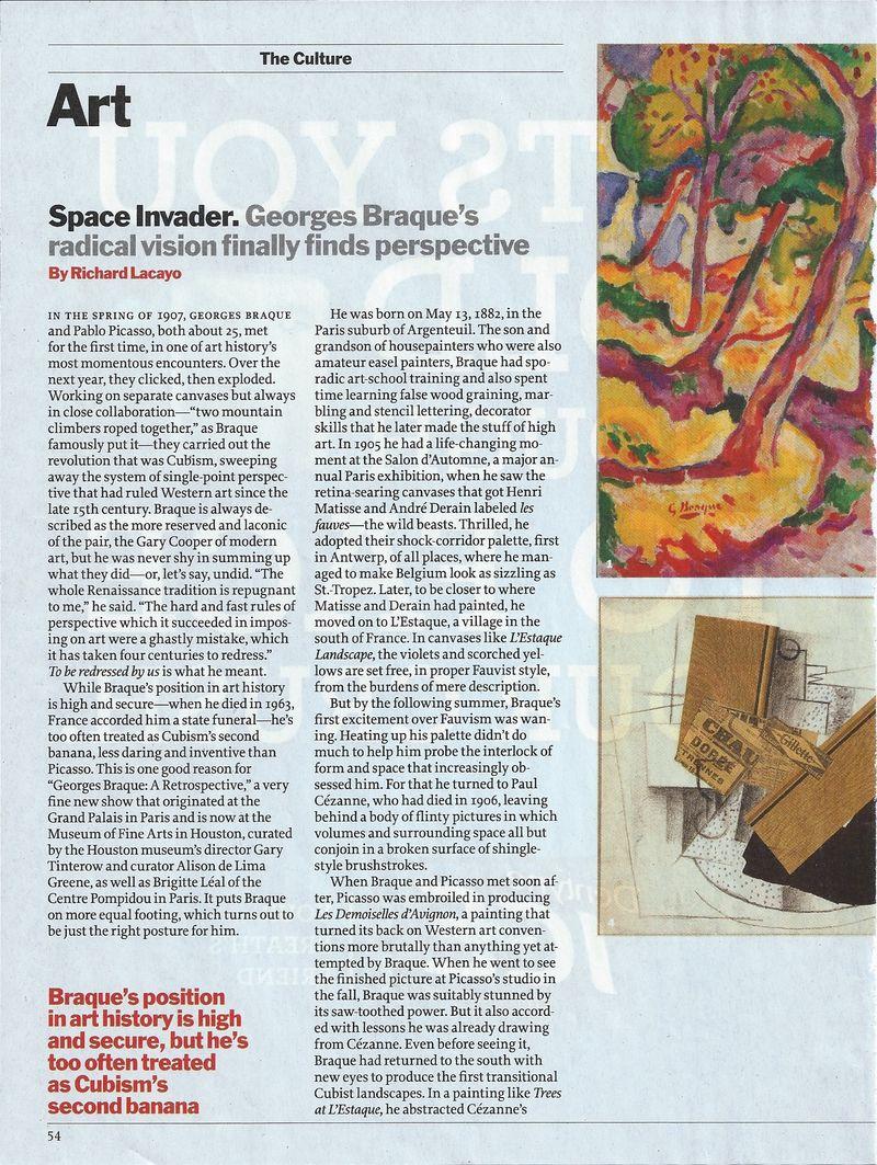Time magazine Braque article