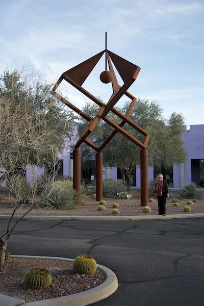 Gretchen & Iron Sculpture